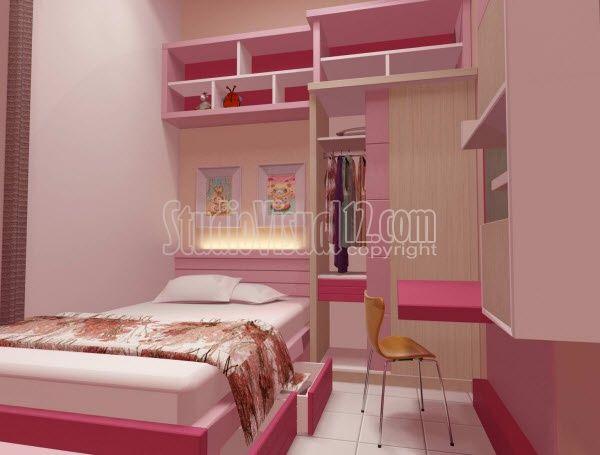Desain Kamar Tidur Anak Perempuan Nuansa Pink