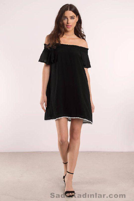 Günlük Elbise 2018 Şık ve Rahat Yazlık Elbiseler siyah kısa omzu açık fistolu