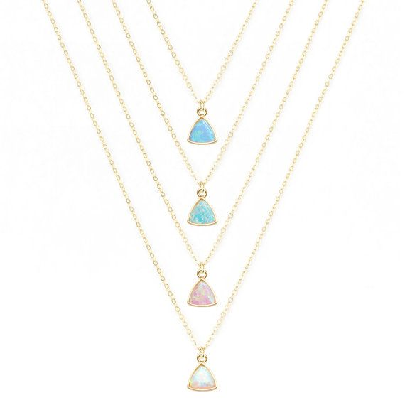 Dainty Opal Necklace, Delicate Necklace, Blue Opal, Pink Opal, White Opal, Green Opal, Layering Necklace, Thin Gold Chain, 14kt Gold Fill ______________________ D E S C R I P T I O N _______________________ This tiny opal necklace has SO much amazing sparkle and hangs beautifully
