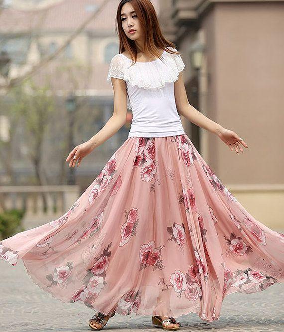 floral maxi skirt Maxi chiffon skirt flower print by xiaolizi