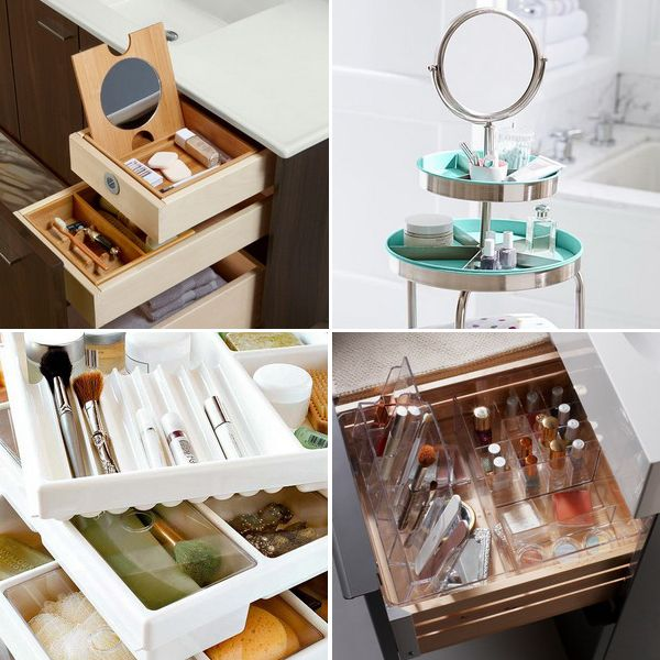 25 идей для маленьких и просторных ванных, организации косметики в ящиках и шкафах, на стенах и полках. Товары для хранения косметики от ИКЕА и Pottery Barn.