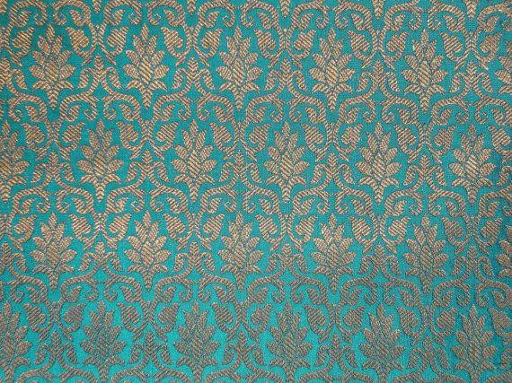 Fat quarter peacock blue and gold  Indian silk brocade fabric