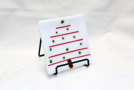 Fused Glass Plate  Christmas Tree Fused Glass by Chateau694Glass
