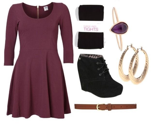 Winter outfit- long sleeve dress, lets add a cardigan maybe (maybe not), leggings/tights, black wedges, thin leather belt