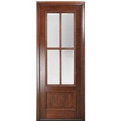 """MAI Doors DD84L-1 Delta True Divided Lite, 8'-0"""" Tall 4-Lite Panel Bottom Mahogany Exterior Single Door"""