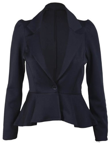 New Ladies Long Sleeve Peplum Flared Frill Womens Fitted Button Blazer Smart Jacket: Amazon.co.uk: Clothing