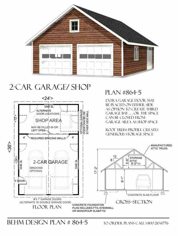 2 car attic garage plan with one story 864 5 24 39 x 36 for Shop plans and designs