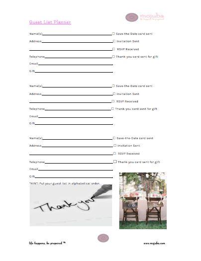 54 best Craft Wedding images on Pinterest Craft wedding, Dream - free printable guest list