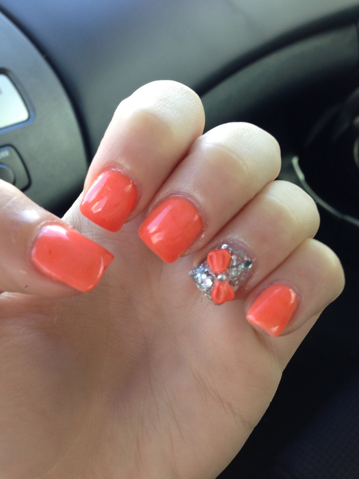 Coral Nails with bow