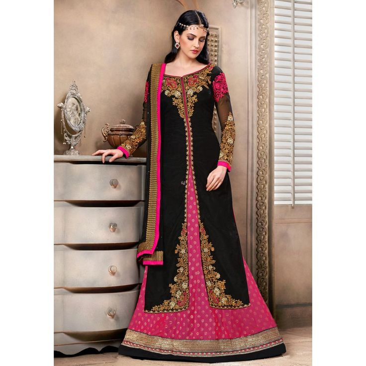 Black and Pink Georgette Party Wear #Sharara With Dupatta- $67.32