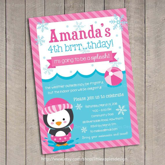 WInter Pool Party Invite, doesn't get any cuter or more creative than this! {etsy}