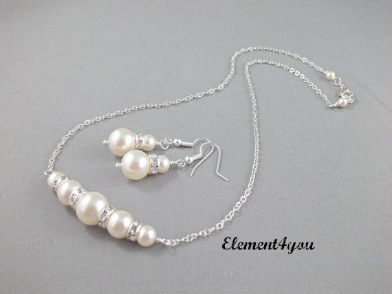 Bridesmaid Jewelry, Wedding Jewellery, Necklace Earrings set, Silver Chain, Delicate set, Swarovski pearls, Bridal Party Gift, Simple