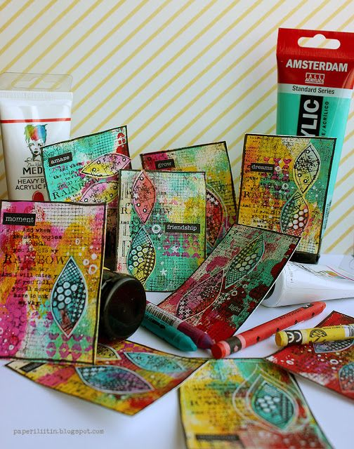 Stamped ATCs by Riikka Kovasin for Inspired by challenge