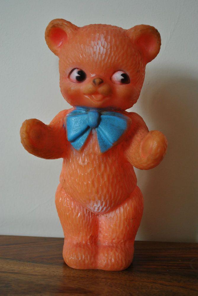 Vintage Combex Plastic Rubber Rare Orange Teddy Bear 1950s