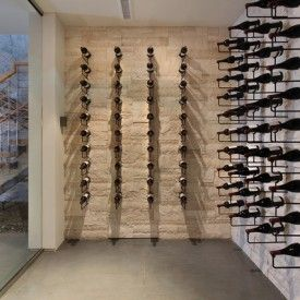Creative Contemporary Wine Cellar Room Design Interior Decorated with Minimalist Hanging Wine Rack Furniture Ideas