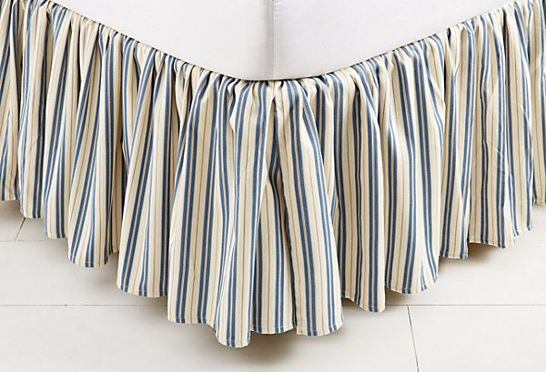 ticking bed skirt light blue