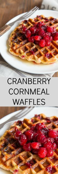 Uses for leftover cranberry sauce: these cranberry cornmeal waffles! A great quick make ahead breakfast you can keep in the freezer!