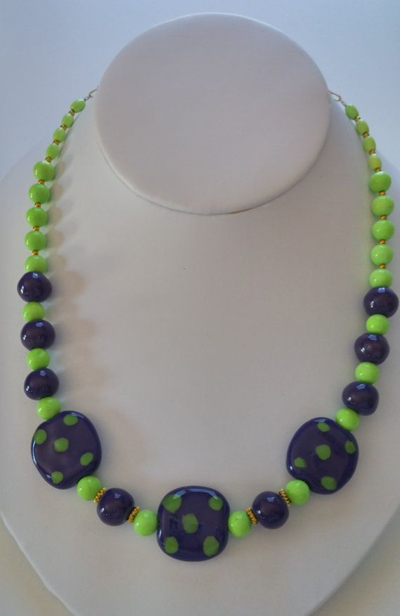 African Kazuri beads and Lime Green Turquoise by DancingBird1550