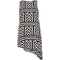 Estampado geométrico Negro dobladillo asimétrico túnica