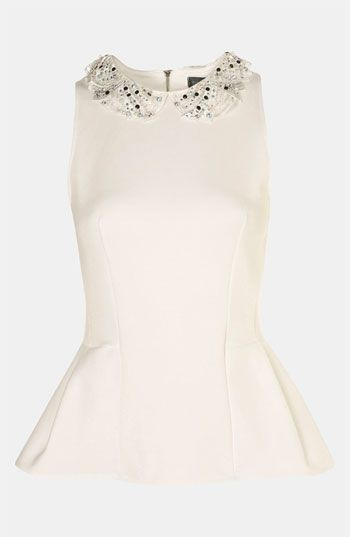 Topshop Embellished Collar Peplum Top available at #Nordstrom