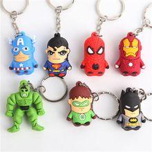 1 UNIDS venta Caliente Vengadores Capitán América Spider-Man Hulk PVC Figuras de Acción de Dibujos Animados 3D del Partido Del anillo Dominante llavero regalos Accesorios(China (Mainland))