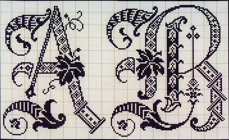 Cute Things cardiaques: artisanat, décoration et bien plus encore: point de croix: Lettres de l'album français du XIXe siècle (1)