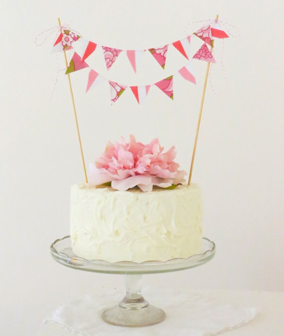 Cake Bunting She Hearts Pink by bluebirdandviolet on Etsy