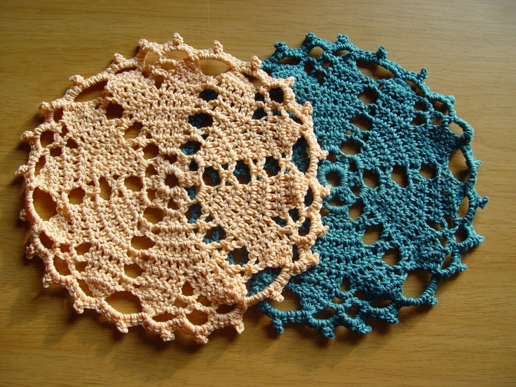 vintage style heart doilies in 100% cotton.  2 for €10, peach and steel blue  www.facebook.com/thehandyhooker