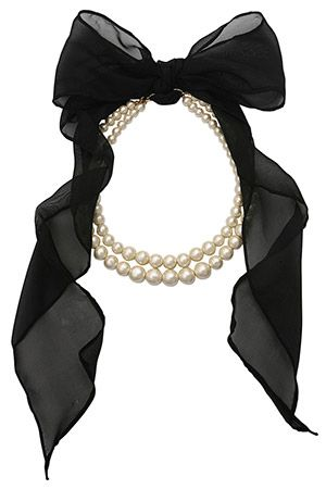 diy Pearl Necklace with Large Black Bow