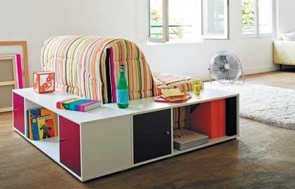 Pour une chambre d'enfant/ado : une combinaison chauffeuse et rangement pas idiote