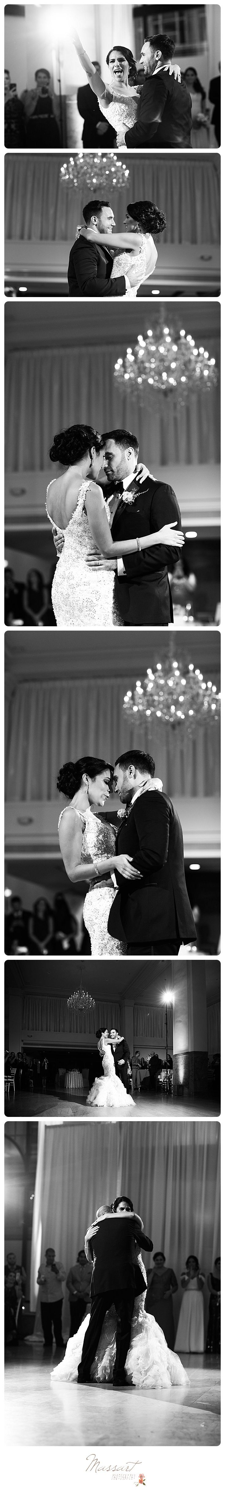 Black and white first dance photos of bride and groom at their wedding reception photographed by Massart Photography of Warwick, RI.   www.massartphotography.com; info@massartphotography.com