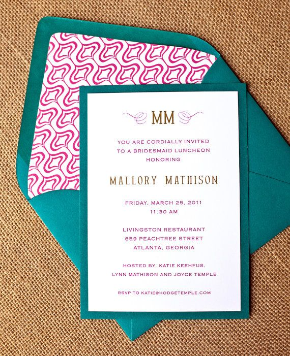 bridesmaids luncheon, baby shower or bridal shower invitation - monogram (turquoise, hot pink & gold)