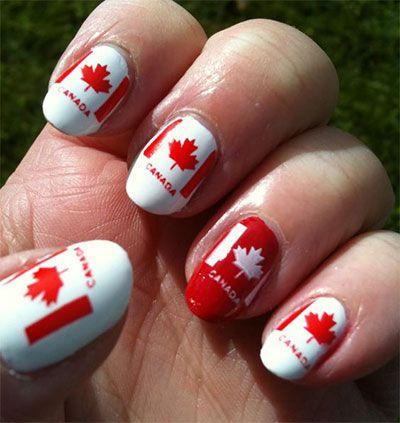 Canada Flag Nails Art Designs