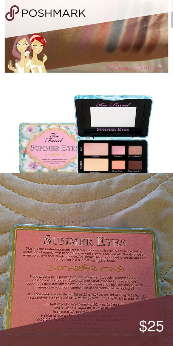 Too faced summer eyeshadow palette Gorgeous palette containing 6 eyeshadows, 1 blush and 2 highlighters!  Great for travel! Too Faced Makeup Eyeshadow