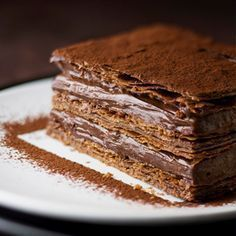 Milhojas con mousse de chocolate | Recipe | Recetas, Chocolate and Mousse