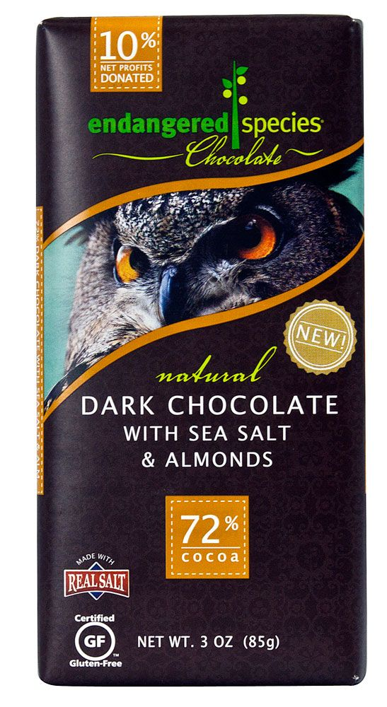 Endangered Species Chocolate Natural Dark Chocolate with Sea Salt and Almonds Gluten Free