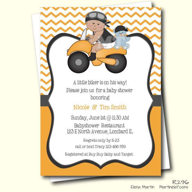 Motorcycle Baby Shower Invitation- African American Biker Baby Invitation- Biker Boy- Orange Chevron Printable Invite- DIY Babyshower Invite by MartinelaToons on Etsy https://www.etsy.com/listing/217531755/motorcycle-baby-shower-invitation