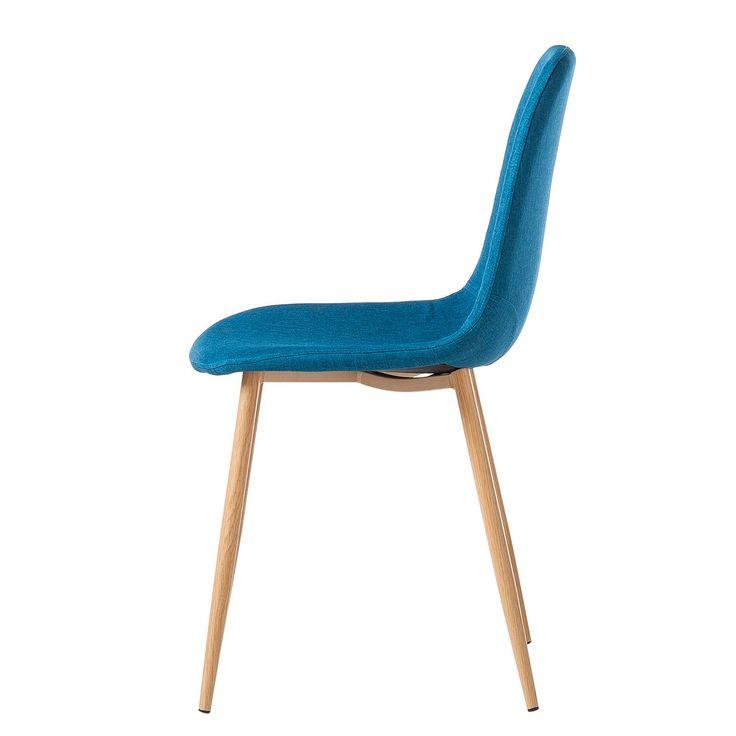 Gestoffeerde stoelen Iskmo III (2-delige set) - geweven stof - Petrolblauw