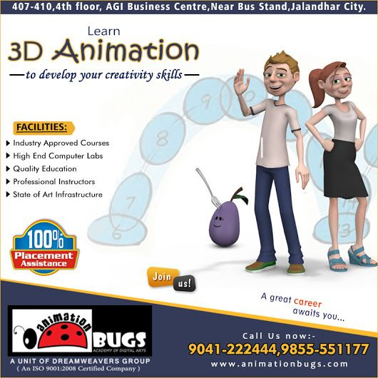 Are you looking for 3D Animation Course in Jalandhar? Join Animation Bugs today. Here, you can get the Best Coaching for 3D Animation. We offer 100% guaranteed job placement. We cover all the essential topics through giving the best practical training to students. Students can get placed in the top IT companies after completing their course. Our course includes all the updates of the industry so we can deliver job oriented training to the students.