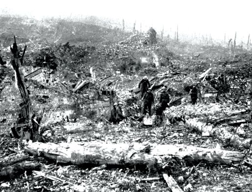 Battle of the Somme, 1916. Troops among the ruins of Beaumont Hamel after its capture. - John Boileau, Legion Magazine.