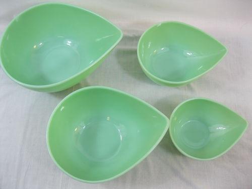 Vintage Fire King Jadite Jadeite Set 4 Sweedish Modern Mixing Bowls Excellent | eBay
