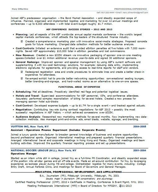 12 best Resume Examples 2013 images on Pinterest Resume examples - event coordinator sample resume