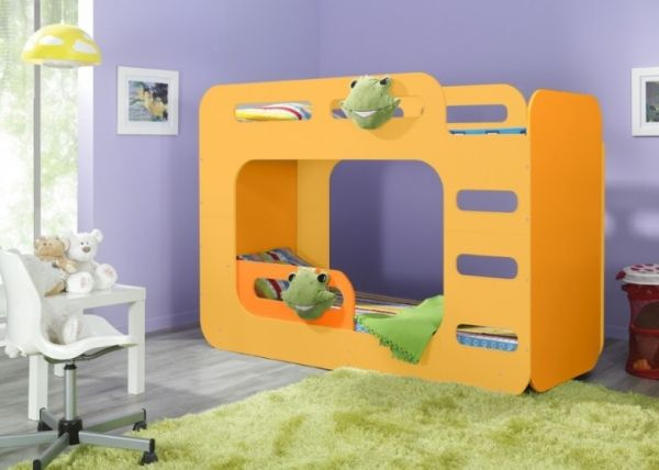 das etagenbett luca 2 f r 2 in orange etagenbett kinderbett bett orange treppe. Black Bedroom Furniture Sets. Home Design Ideas