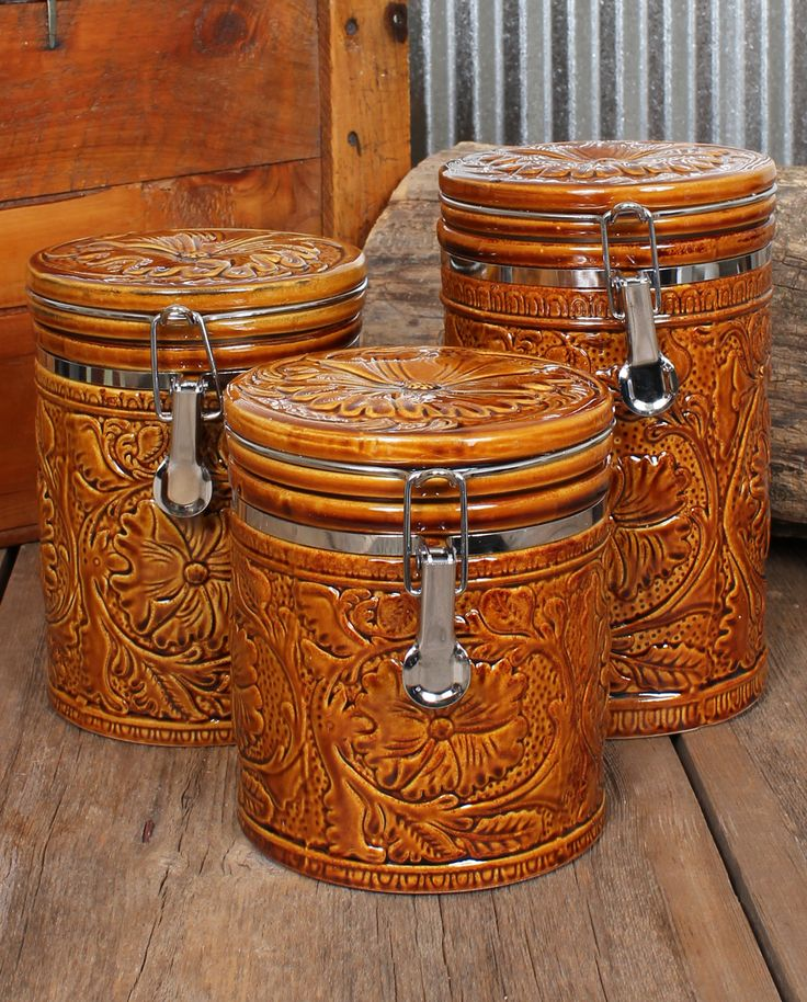 Western Kitchen Rack Tooled 3 Piece Canister Set Home Decor New Arrivals Features