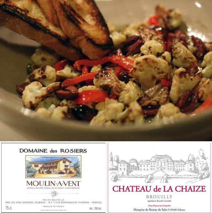 Roasted Cauliflower Antipasto + Cru Beaujolais