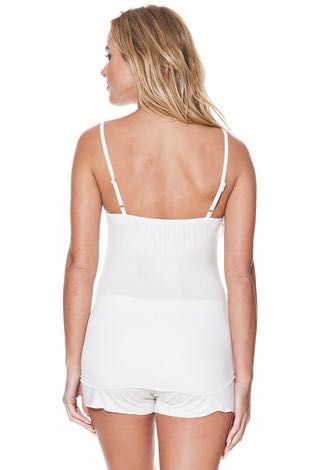 Pyžámko VALENTINA s topem a krátkými šortkami v eshopu SoftCotton v barvě krémové nebo černé. Vyberte si sami ..