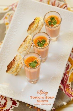 Spicy Tomato Soup Shots with Mini Grilled Cheese
