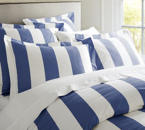 PB Classic Stripe 400-Thread-Count Duvet Cover & Sham - Lapis Blue | Pottery BarnGuest Room, Pb Classic,  Comforters, 400 Thread Counting Duvet, Duvet Covers, Stripes 400 Thread Counting,  Puff, Classic Stripes, Pottery Barns