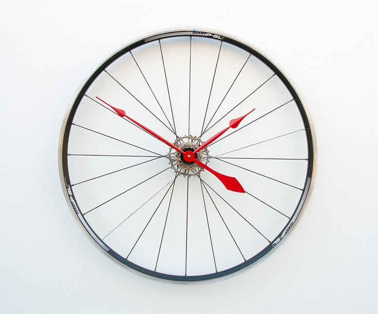 Recycled Bike Wheel clock. via @Etsy