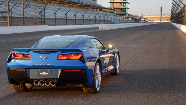 Herunterladen 1920x1080 Full HD Hintergrundbilder chevrolet corvette c7 stingray blau sportwagen straße rückansicht 1080p